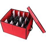 "Primode Xmas Light Box Organizer | Holiday Light Storage Box with Lid (15"" x 12"" x 10"") (Red)"