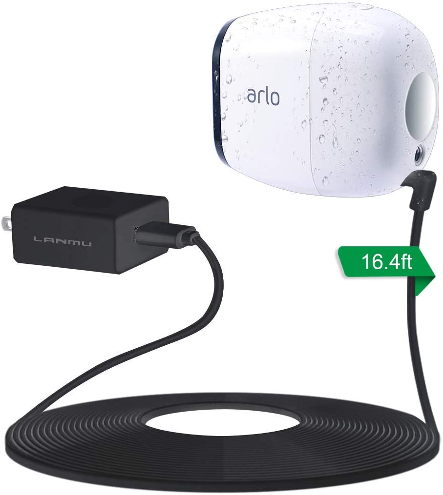 Charger and Cord LANMU Weatherproof Outdoor Power Cable for Arlo Pro with Quick Charge 3.0 Power Adapter Compatible with Arlo Pro,Arlo Pro 2,Arlo Go and Arlo Security Light with Wire Clips