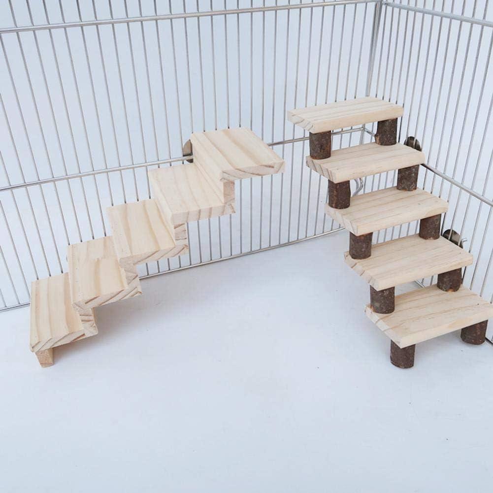 Williamly Escaleras De Madera para Hámster, Jaula De Hámster, Escalera De 5 Peldaños, Plataforma para Pájaros, Trampolín De Loro, Decoración De Hábitat para Mascotas: Amazon.es: Productos para mascotas
