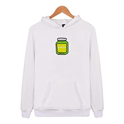Adult Hooded Sweatshirt Big Pockets Drawstring cartoon pickles Embroidery Pullover