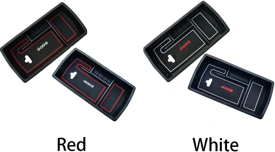 Red Spachy Car Console Central Storage Box Fit for Peugeot 3008 Peugeot 5008 GT 2017 2018 Arm Rest Storage Bin Door Storage Box Holder Container