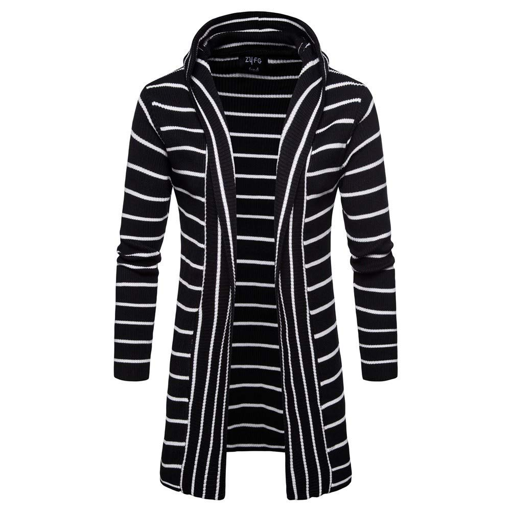 SPORTTIN Men's Casual Long Cardigan Sweater Stripe Print Hooded Shawl Collar Knit Coat(Black,XL