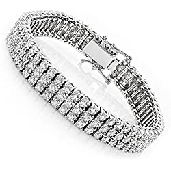 Luxurman 10K Gold 3-Row Prong Set Natural 1.6-1.8 Ctw Diamond Bracelet For Men