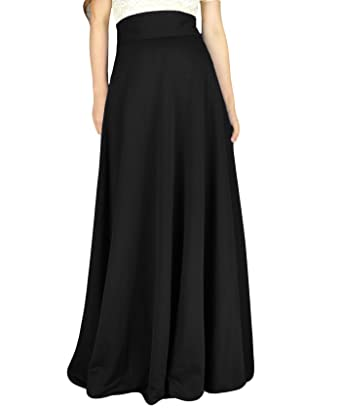 d748858520c YSJERA Women s High Waist A-Line Pleated Solid Vintage Swing Maxi Skirts  Midi Skirt Party