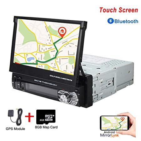 Hikity Single Din Car Stereo Single Din Car Stereo 7 Folding Capacitive Touch Screen Car FM Radio Bluetooth with USB AUX-in SD Card Port Supports GPS Navigation Mirror Link for Android Phone 8G Map
