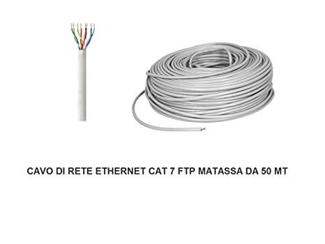 MATASSA 50 MT METRI CAVO DI RETE FTP CAT 7 LAN ETHERNET M BOBINA INTERNET  ADSL dd25d6afeb73