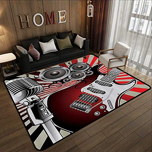 Throw Rugs,Music Decor,Music Old Fashioned Speaker Loudspeaker Geometrical Striped Background 55