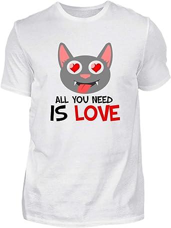 All You Need is Love - Solo necesitáis Amor - Gatos, Corazon, tierno - Camisa de Hombre: Amazon.es: Ropa y accesorios