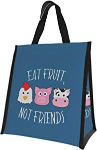 Reusable Lunch Bag Eat Fruit,Not Friend Lunch Bags Tote Bags for Women Lunch Box Insulated Lunch Container for Office Work School Picnic - 10 x 11 inch