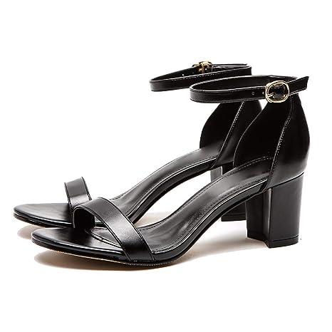 KPHY Scarpe da donna/Scarpe Con Tacchi Alti Dura Pelle Retro 'Ragazze Fibbie Sandali 6Cm Fresca 37 Black