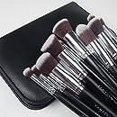 FANTCEN Makeup Brush Set Kabuki Brush Set Wooden Handle Foundation Brush Set with PU Black Bag Set of 10