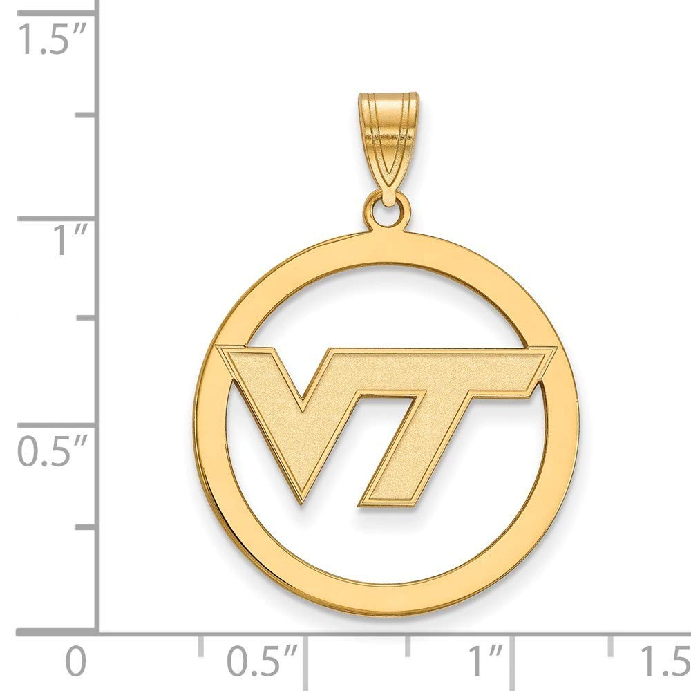 Roy Rose Jewelry Sterling Silver with 14K Yellow Gold-plated LogoArt Virginia Tech Large Pendant in Circle