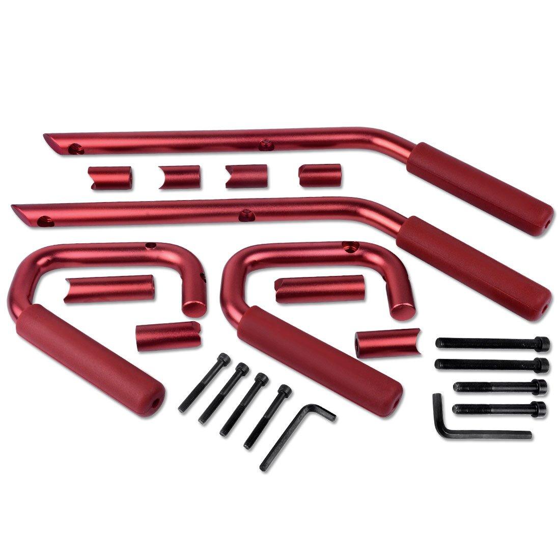 Red AUTOSAVER88 Front /& Rear Grab Handle Bar Kit 2007-2018 Jeep Wrangler 4 Doors Solid Steel Grab Bar