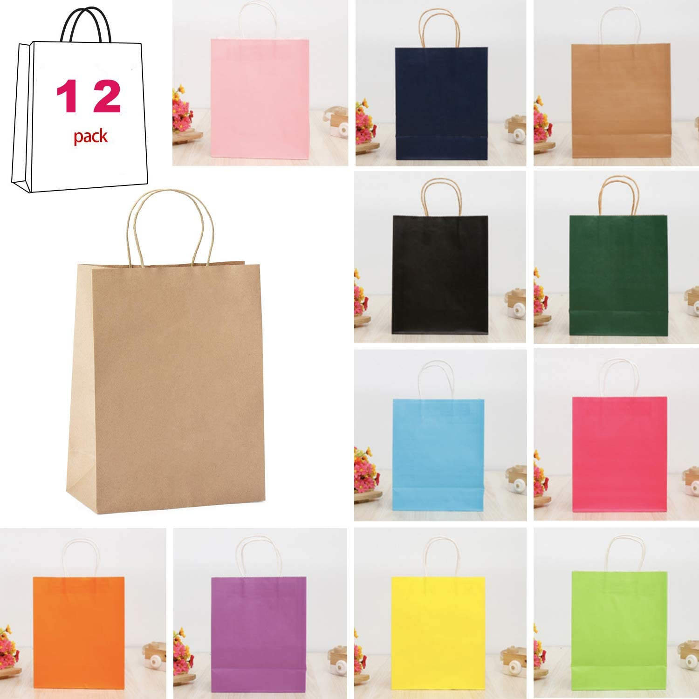 Bolsa de asa multicolor bolsa de papel bolsa de regalo, Regalo de navidad con asa de papel kraft, bolsas de papel bolsa de regalo de fiesta kraft bolsa con asa para cumpleaños (3)