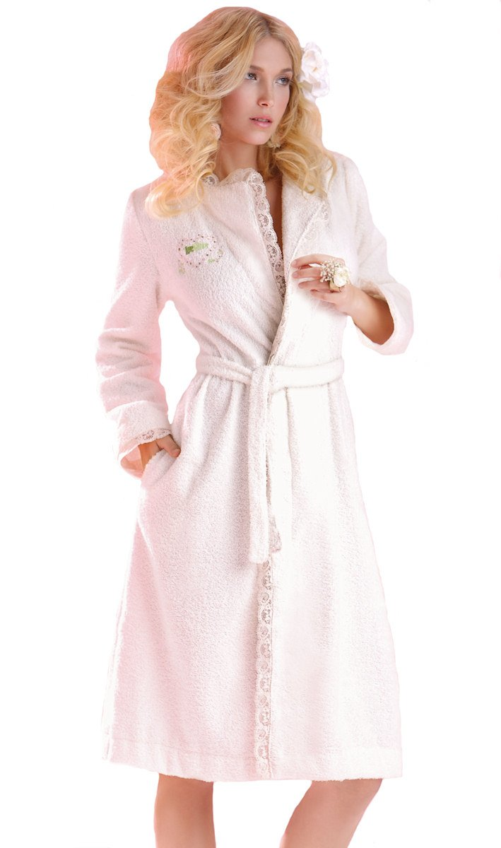 Love Nature Women's Organic Cotton & Lace Terry Robe Natural L/XL