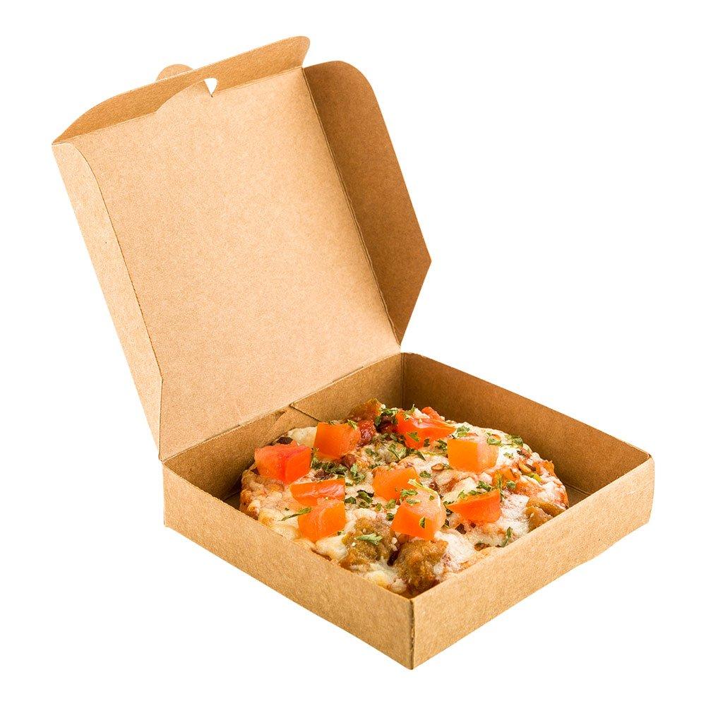 Mini Pizza Box, Mini Square Cardboard Pizza Box, Disposable Pizza Box - Kraft Brown - 3.5'' - 100ct Box - Restaurantware by Restaurantware
