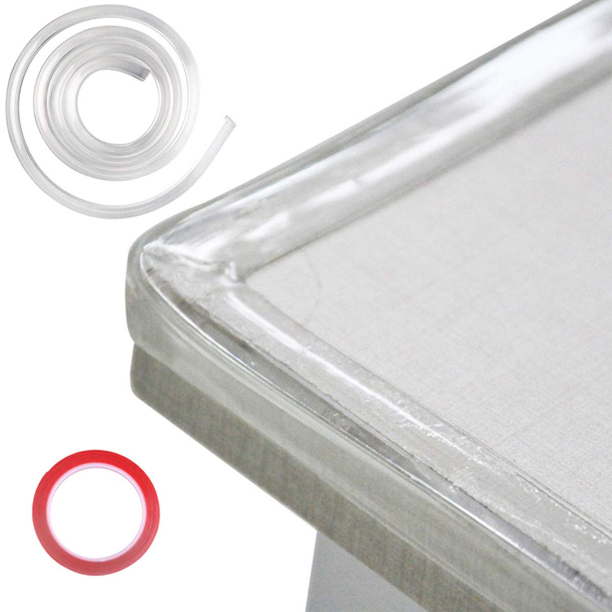 DricRoda Furniture Table Edge Protectors, 20ft Transparent Corner Guards, Baby Proofing Clear Corner Protector, Soft Silicone Bumper Strip with Double-Sided Tape for Cabinets Drawers Sharp Corners