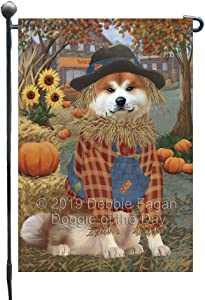 Halloween 'Round Town and Fall Pumpkin Scarecrow Both Akita Dogs Garden Flag GFLG65619
