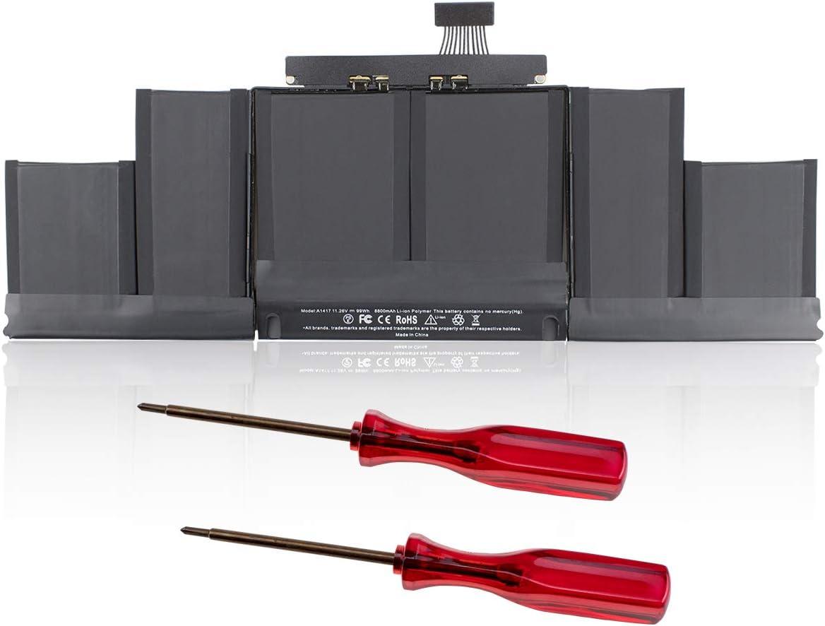 HUSAN A1417 Batería de Repuesto para Macbook Pro Retina A1398 de 15 Pulgadas (Mediados de 2012 - Versión de principios de 2013) ME665LL / A ME664LL / A MC975LL / A MC976LL / A MD831LL / A (8800mAh)