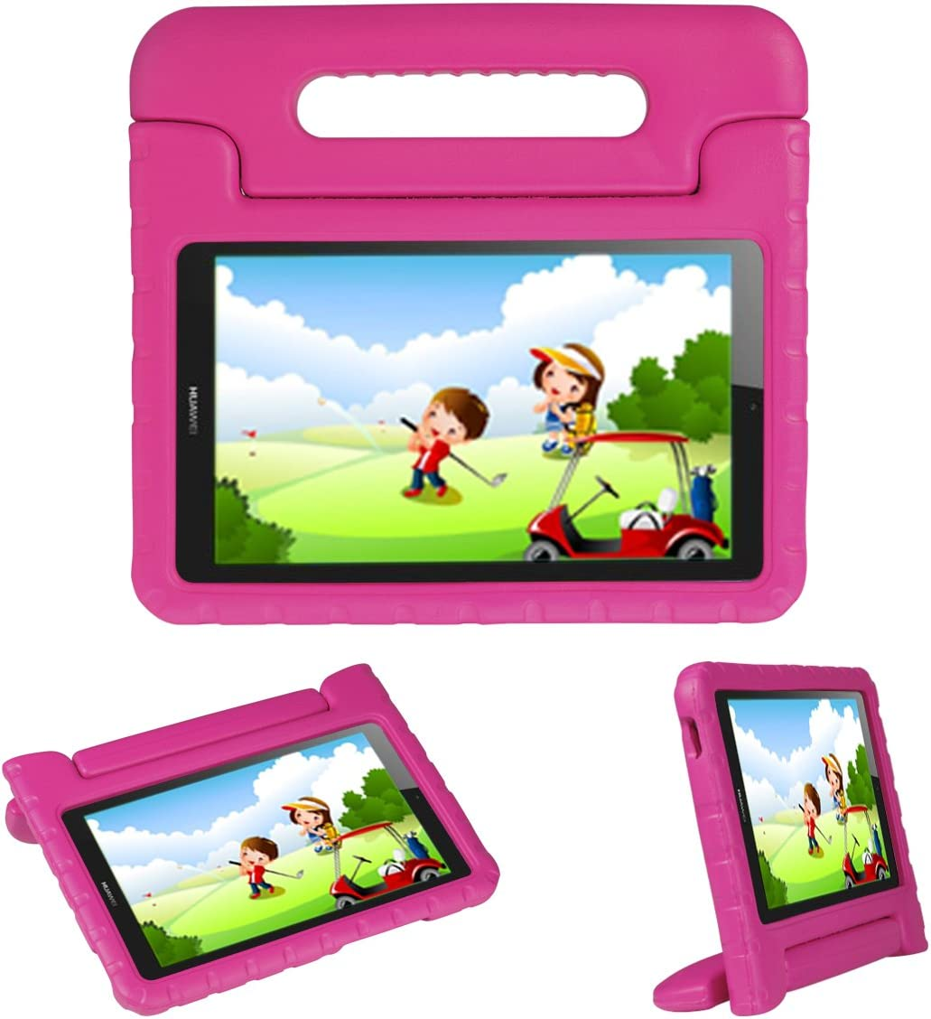 i-original Kids Case Stand for Compatible with Huawei MediaPad T3 8 8-in/Honor Play Pad 2 8-in, Eva Shockproof Protective Carry Handle Lightweight Tablet Holder Cover for Toddlers Children (Magenta)