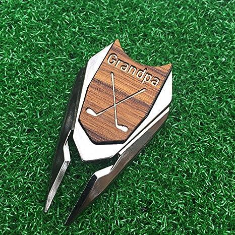 GRANDPA Engraved Golf Gift Divot Tool And Ball Marker In Teak Wood