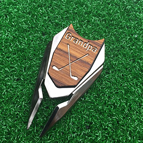 GRANDPA Engraved Golf Gift Divot Tool and Ball Marker in Teak Wood - Dad Personalized Gift, Dad Birthday Gift, Gift for Dad, Gift for Grandfather, Grandfather Christmas Gift, Gift for Granddad ()