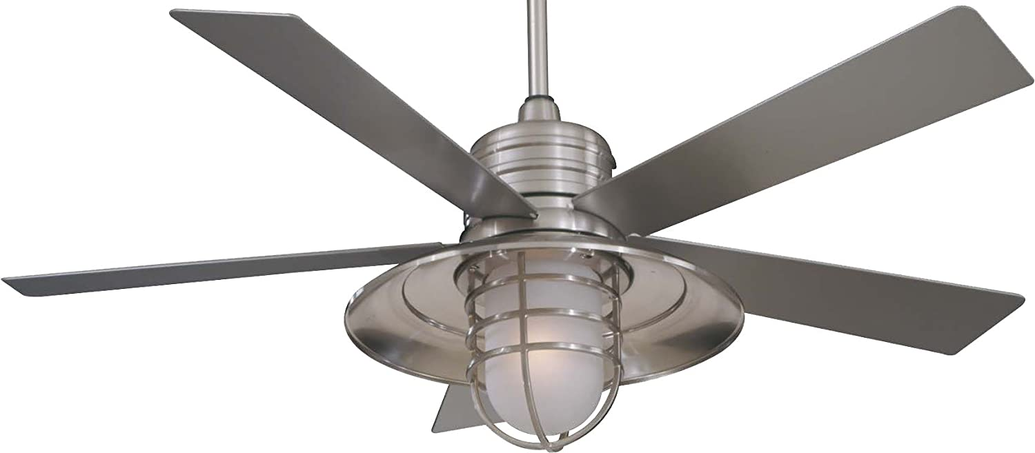 Awesome Minka Aire F582 BNW Minka Aire One Light Outdoor Fan, Brushed Nickel Wet      Amazon.com