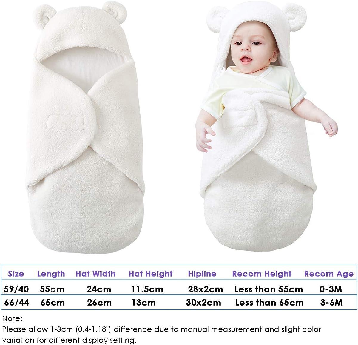 Lindo Saco de Dormir Manta de Felpa Leyeet Saco de Dormir c/álido Color Blanco Cuna Saco de Dormir Cochecito Manta para beb/é reci/én Nacido Forro Polar