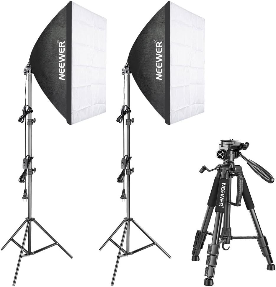 Neewer 700W 5500K Fotografía Softbox Kit de iluminación con trípode de cámara: (2)24x24inch/60x60 centímetros Softbox, (2)85W Bombilla (2)88
