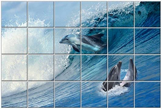 Nish Dolphin Collection Bathroom Wall Tiles Decorative Wall Tiles Ceramic Tiles Gloss Finish 6ft