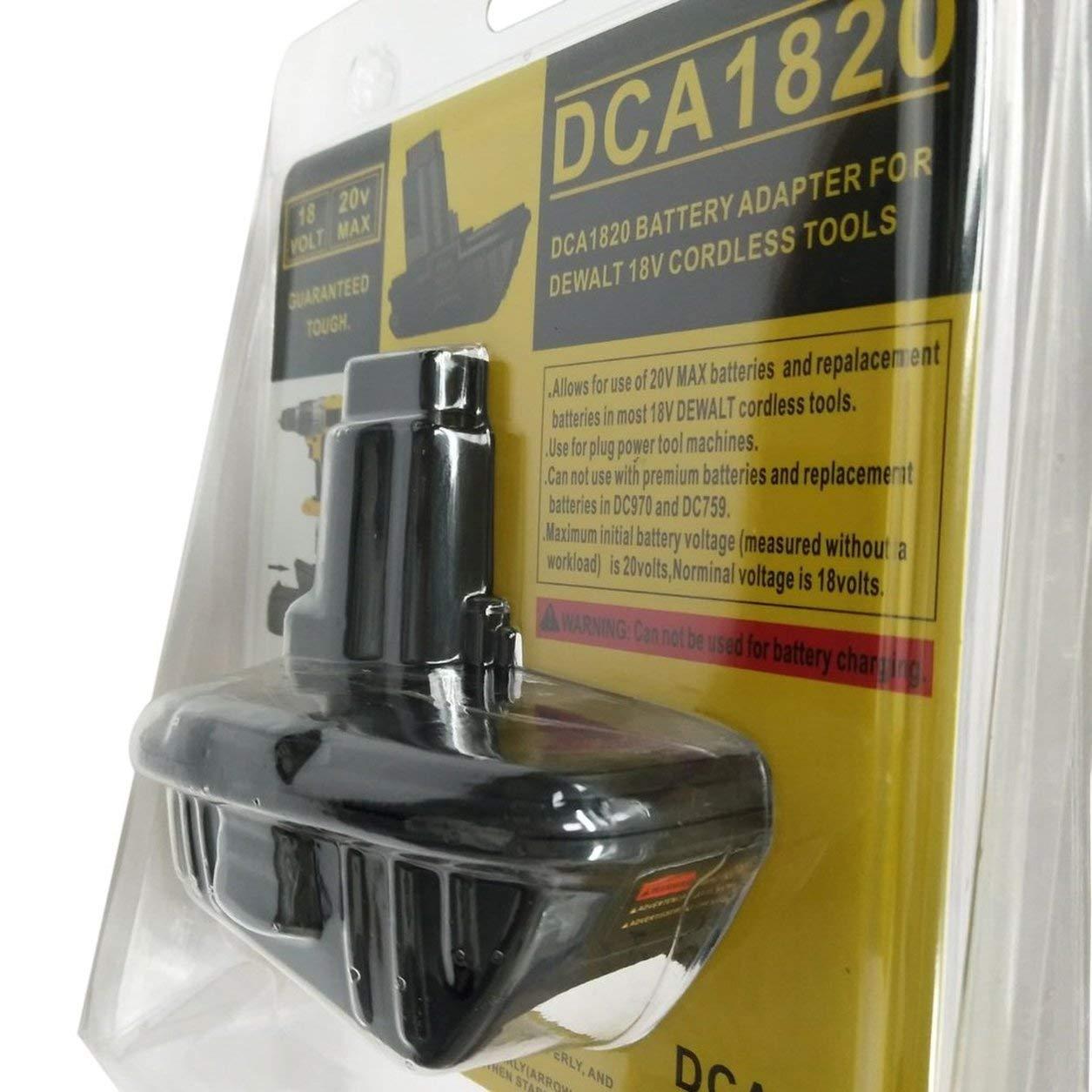 Adaptador convertidor de batería DCA1820 20V a 18V para herramienta eléctrica sin cuerda Dewalt, negro: Amazon.es: Bebé