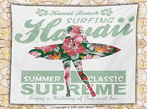 Hawaiian Decorations Fleece Throw Blanket Tropical Hawaii Hibiscus Surfing Girl Silhouette Surfboard Retro Themed Artprint Throw Coral Green