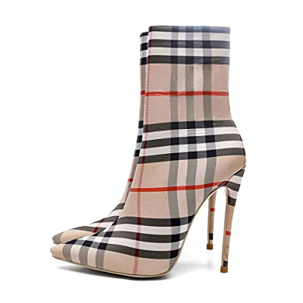 974a1b112c64a Amazon.com: FCXBQ Personality High Stiletto Heels Ankle Boots Plaid ...