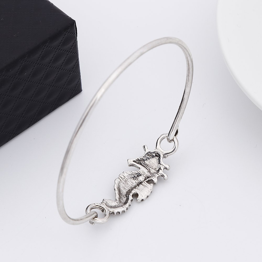 RUXIANG Seahorse Sea Life Openable Hook Bracelet BangleJewelry Silver