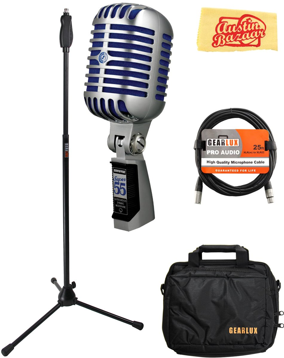 Shure Super 55 Deluxe Vocal Microphone Bundle with Boom Stand, Gear Bag, XLR Cable, Polishing Cloth by Shure