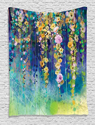 Ambesonne Watercolor Flower Decor Collection Ivies and Vines Flowers Summer Garden Print Wall Hanging Tapestry with Accessories, Navy Mustard Summer Garden Collection