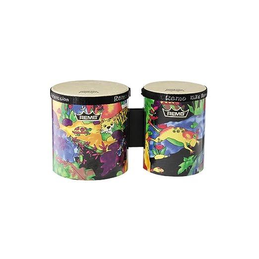 Remo Kids Percussion Bongo Drum - Fabric Rain Forest, 5