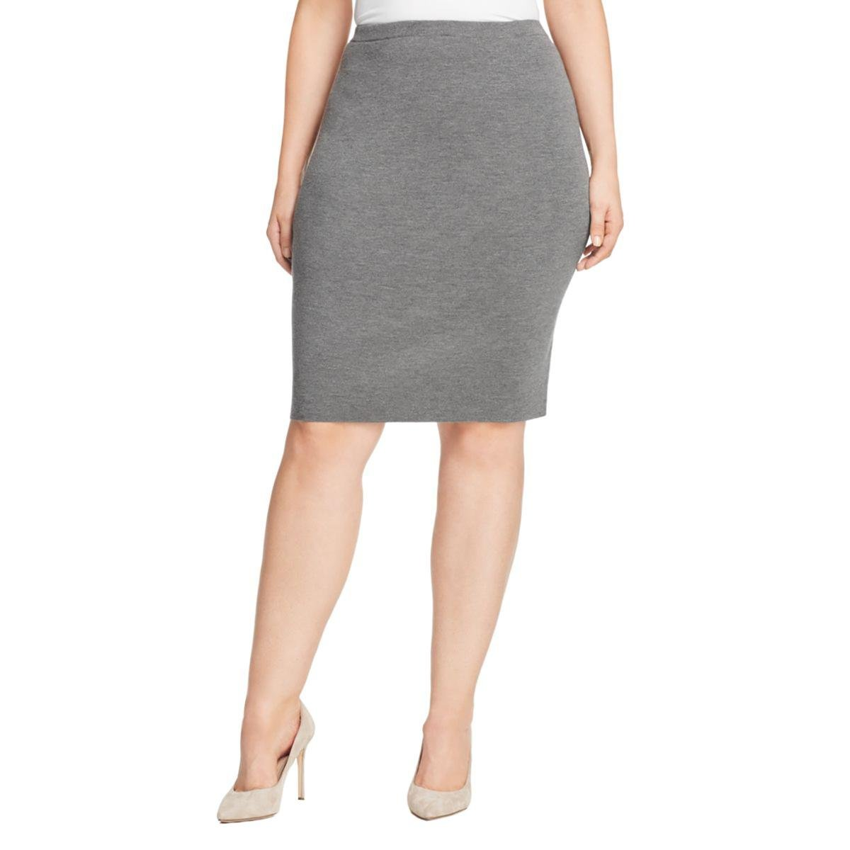 Eileen Fisher Womens Plus Ribbed Pull On Straight Skirt Gray 1X