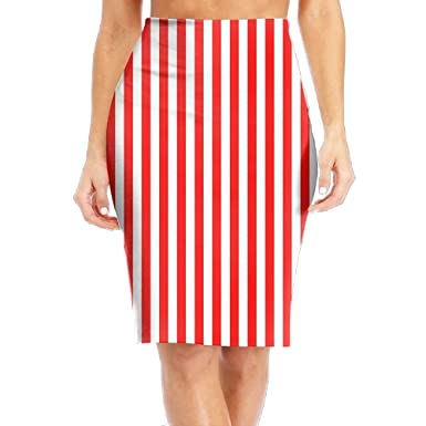 648d77ca017 Amazon.com  ZeTian H Red White Vertical Stripe Women s Casual Print Slim  High Waist Pencil Skirts Knee-Length Skirt  Clothing