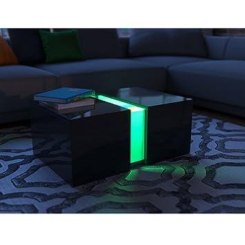 Couchtisch LED Schwarz Hochglanz - Loungetisch Wohnzimmer Tisch ...
