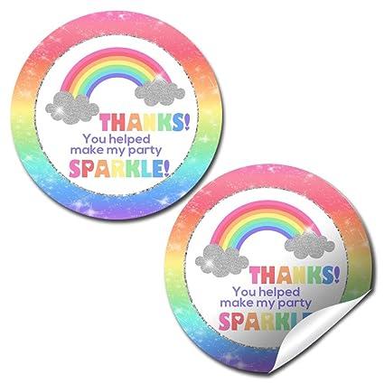 Amazon.com: Rainbow Sparkle fiesta de cumpleaños gracias ...