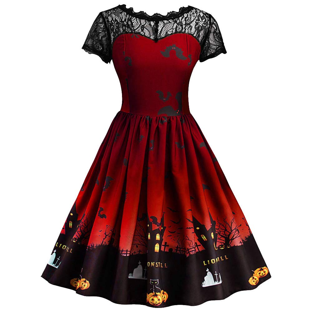 Big Promotions Women's Halloween Dress ODGear Vintage Retro Lace Short Sleeve Mesh Pumpkin Printed Swing Party Dress