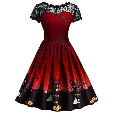 a95de10188532 Yogogo Femmes NoëL Imprimé Manche Courte Robe Vintage Swing Robe 50s Retro  Vintage Robe De Dentelle