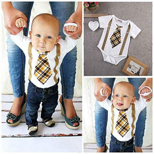 Newborn Infant Baby Boy Clothes Plaid Tie Suspenders Bodysuit Romper Outfits