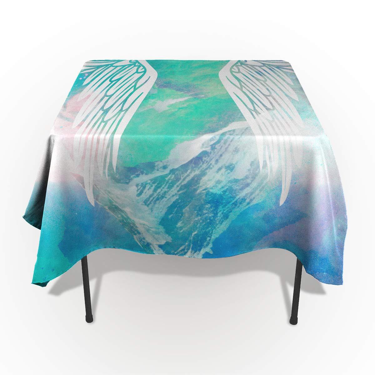 長方形ポリエステルテーブルクロス 宇宙 ギャラクシー 星空 ユニコーン テーブルクロス 洗濯機洗い可能 テーブルカバー キッチン ダイニング 宴会 パーティー 60