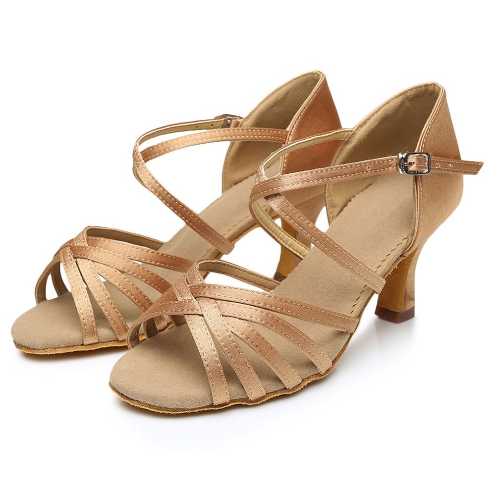 Cdso Beige Women Satin Salsa Ballroom Latin Dance Shoes Heel 2.76 inches,7.5 B(M)US/23.9CM