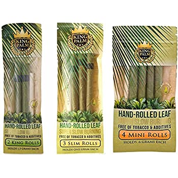 King Palm Natural and Organic Slow Burning Pre-Rolled Palm Leafs Variety Bundle | 1 Slim Roll Pack, 1 King Roll Pack + 1 Mini Roll Pack (9 Total Rolls)