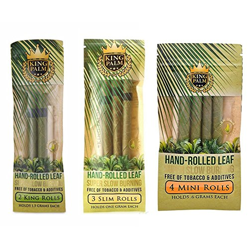 Price comparison product image King Palm Natural and Organic Slow Burning Pre-Rolled Palm Leafs Variety Bundle / 1 Slim Roll Pack,  1 King Roll Pack + 1 Mini Roll Pack (9 Total Rolls)