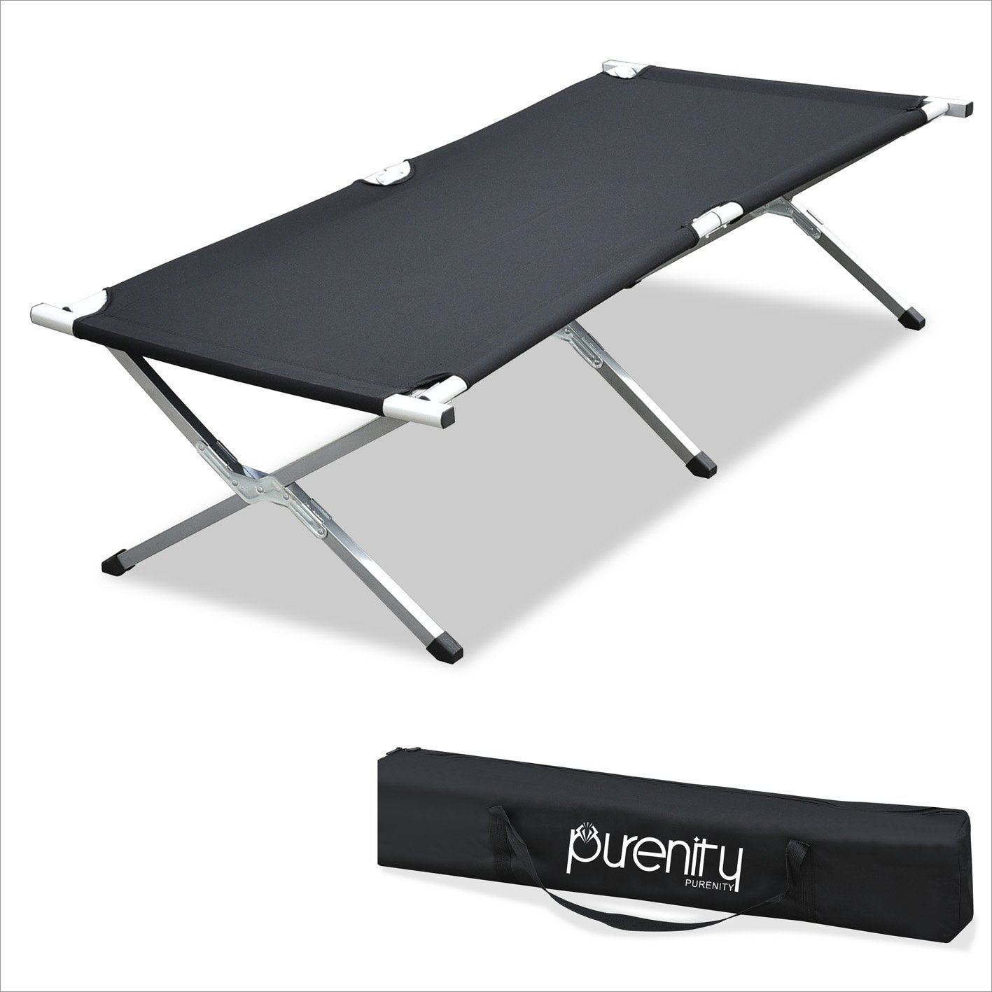 Purenity 82''L Folding Military Bed Portable Camping COT with Free Storage Bag (Black)
