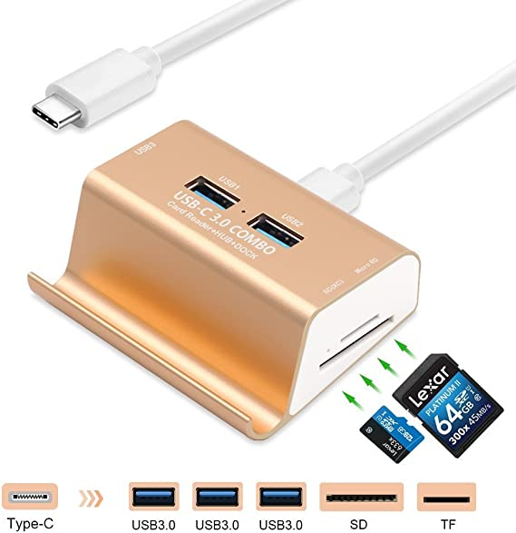 4 Ports Hub With USB Card Reader Combo Multi-in-1 for SD TF Phone Stand Dock